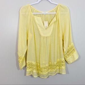 Jade Melody Tam NWT Yellow Blouse Medium
